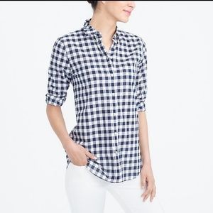 J. Crew{The Perfect Shirt} Button Navy Gingham